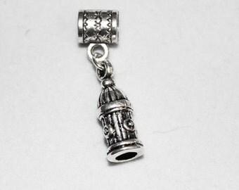 Silver Fire Hydrant Lr Hole Bead Fits  All European Add a Bead Charm Bracelet Jewelry AAB-Gen109