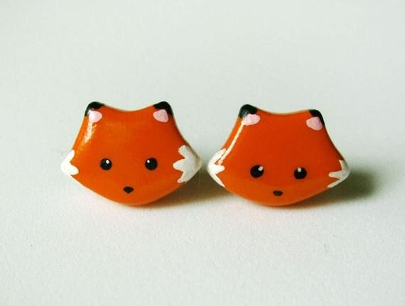 Cute Orange Fox Earrings Polymer Clay Jewelry