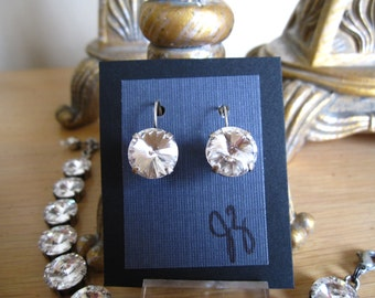 12mm Crystal Clear or Denim Blue Swarovski Crystal Earrings in Antique Silver Setting