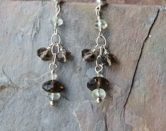 Chocolate Brown Smoky Quartz Aquamarine Sterling Silver Drop Post Earrings