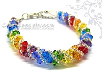 Rainbow bracelet; crystal bracelet; Swarovski bracelet; Glass bracelet;Swarovski bracelet, Dark rainbow twisty Swarovski Crystal Bracelet