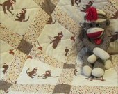 new Crib Size MODA SOCK MONKEY Baby Quilt Blanket Nursery Bedding for Baby boy or girl, neutral color and gender, cotton and cotton-flannel