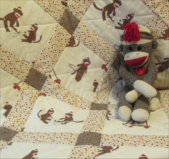 New crib size moda sock monkey baby quilt blanket nursery for Nursery monkey fabric