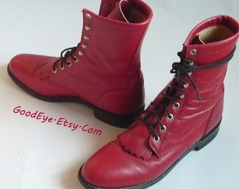 Fab Red Leather HIGHTOP Ankle Boots / size 7 .5 Eu 38 Uk 5 / JUSTIN Kiltie Oxfords Granny Lace Up / made USA Ropers Western