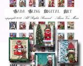Scrabble Tile images, Christmas With The Sock Monkeys ...INSTANT DOWNLOADS,  original art digital collage sheet, for  1 inch  bottle caps