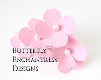 Pink Hair Flowers, Wedding Hair Accessories, Bridesmaid Gift - 6 Pink Adora Hydrangea Bridal Hair Pins - Pearl Centers