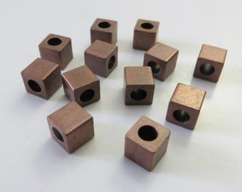 5mm Copper Metal Cube Beads - Large Hole - 12 pieces