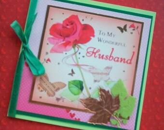 To My Wonderful Husband I Love You, Wedding, Birthday, Valentine Greetings Card