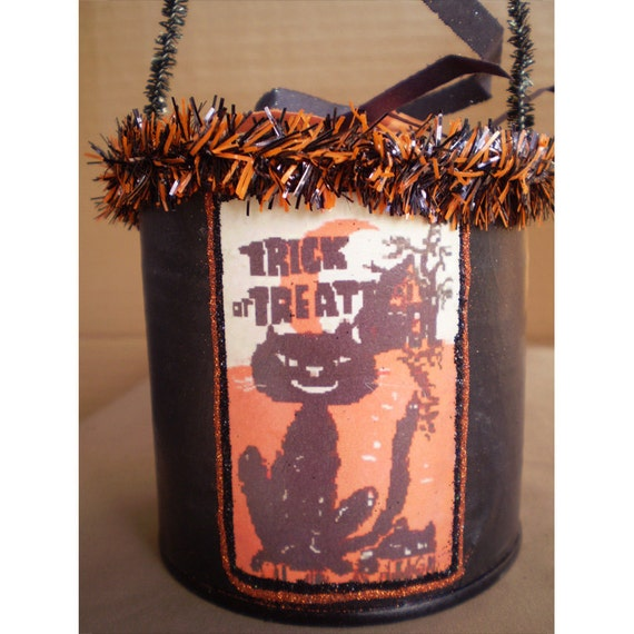 Halloween decoration sit about retro vintage style black cats Trick or Treat Halloween candy bucket