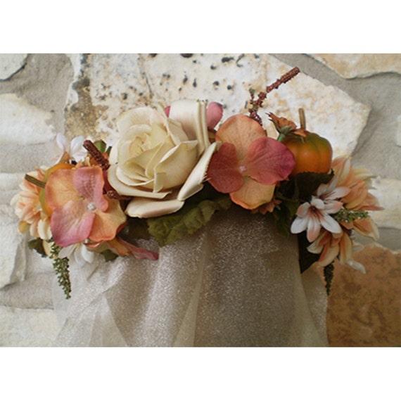Pumpkin Cream Autumn floral head wreath fall bridal flowers women's renaissance costume accessory
