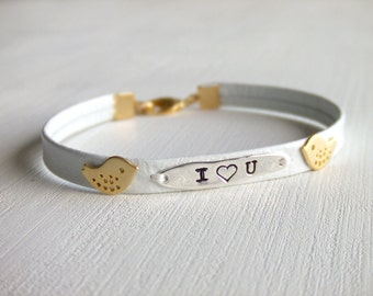 Forever Love Birds Jewelry Bracelet - Personalized Bracelet - White Genuine Leather Cord Jewelry