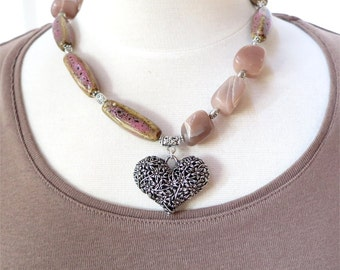 Pink moonstone and ceramic bead necklace with silver heart pendant