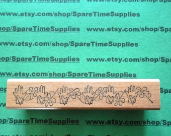 DEL-F681 Loving Hands - Mounted Rubber Stamp