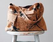 Ginger Brown Linen Dragonfly Bag Print Bag - 3 slip pockets - Key Fob