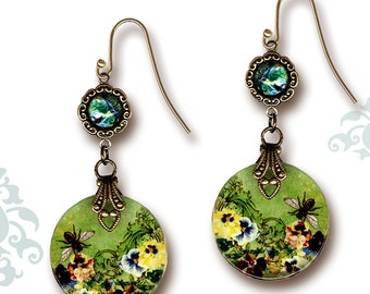 Queen Bee Dangle Glass Art Earrings - The Victorian Collection - Queen Bee