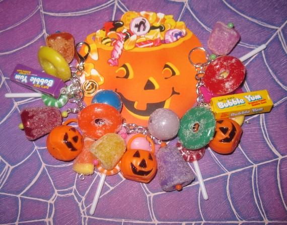 Halloween Charm Bracelet Candy Bracelet Halloween Candy Jewelry Charms Gumdrops Lollipops Sweet Treat Chunky Fun OOAK Loaded Statement Piece
