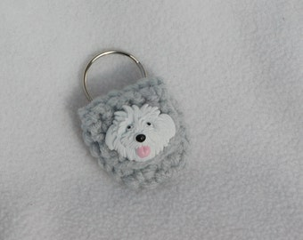 Crochet keychain Coin Cozy, coin holder, coin pouch, mini purse, coin purse, ring holder  - Grey with White Dog