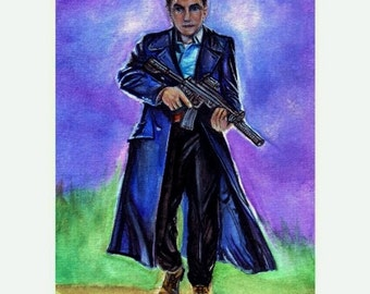 John Barrowman as Capt. Jack Harkness from Torchwood Watercolor Painting 4x6, 5x7, or 8x10 Art Print