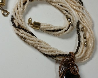 Gold Sheen Obsidian and Pearl necklace in Bronze wire.