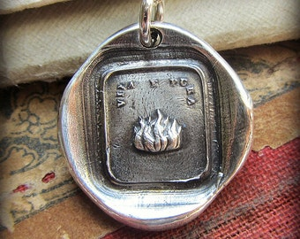 Fire Wax Seal Pendant - live with passion and purpose -  Italian Motto Wax Seal Jewelry in recycled fine silver -IS300