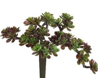 Fake Succulents - Mini Sedum Pick with 30 Artificial Mini Succulents in Green and Burgundy - Faux Succulents- ITEM 0445