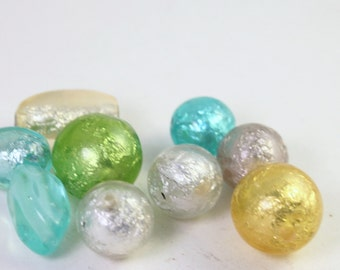 Mixed Pastels Resin and Foil Beads, Green, Aqua, Yellow, Wholesale Loose Beads