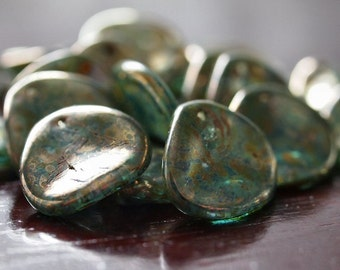 Aquamarine Bronze Picasso Czech Glass Bead 14mm Rose Petal : 12 pc