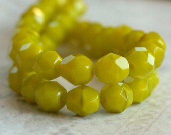 Czech Glass 6mm Beads Chartreuse Faceted Round : 25 pc