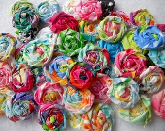 "Fabric Flowers Wedding Flowers 50 Fabric Roses Appliques Bobby Pin Hair Clip Rosette 1"" Embellishment Scrapbook Handmade Wholesale"