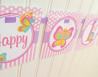 Butterfly Happy Birthday Banner / Pink and Lavender Butterfly Banner / Personalized with Name and Age