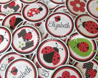 Ladybug Birthday Party Minis / Mini Tags to make Cupcake Toppers, Use as Table Confetti & More /  Any Age / Set of 75 Personalized Mini Tags