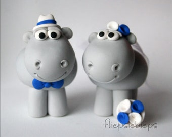 Custom Hippo Wedding Cake Topper