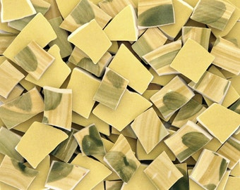 Mosaic Craft Tiles 110 Abstract Golden Fall Colors Yellow and Green Hand Cut Broken China Pieces Tessarae