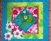 Spring Flowers Art Quilted Wall Hanging Turquoise Pink Green
