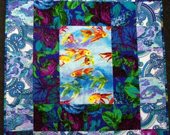 Gold Fish Quilted Wall Hanging, Blues, Green, Purple, Flowers, Quiltsy Handmade