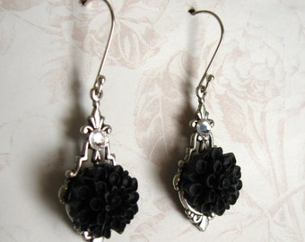 Black Flower Earrings, Sterling Silver, Flower Jewelry, Silver and Black, Swarovski Crystals, Gift for her, Gift under 15, Dangle Earrings