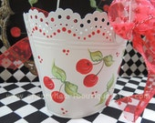 Oval Lacey Metal Basket Pail Bucket ECS Red Cherry deLight