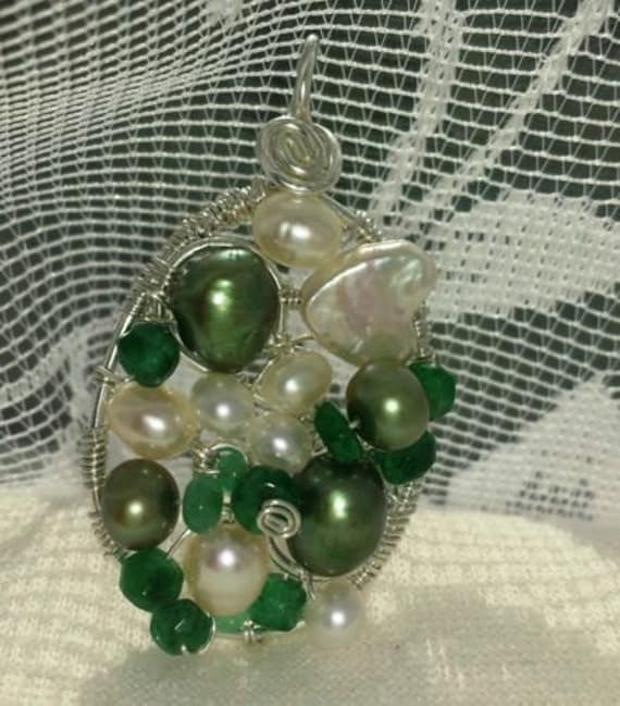 Wire wrapped Sterling silver one-of-a-kind Emerald Pearl Oval Pendant