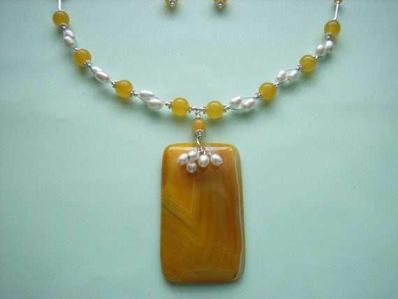 Yellow Agate, Yellow Jade & Cultured Pearls Sterling Set