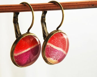 Cyclamen Colored Glass Dome Earrings in Antique Brass, FREE US SHIPPING