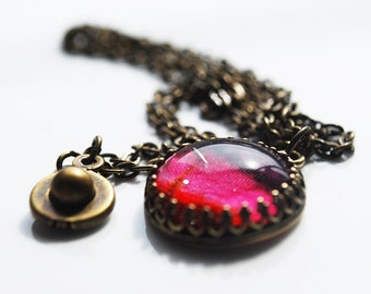Sale - B. Cyclamen Colored Glass Dome Necklace in Antique Brass, FREE US SHIPPING