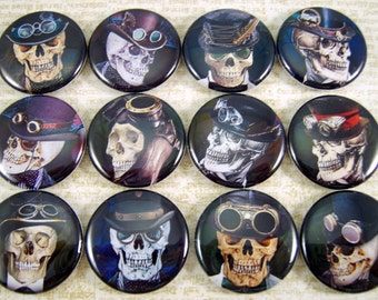 """1"""" Inch Steampunk Skulls Flatback Buttons, Pins, Magnets 12 Ct."""