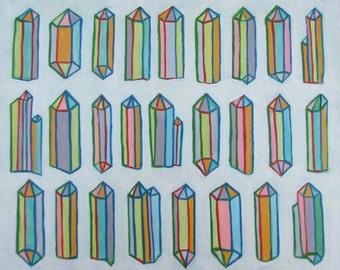 26 Multicolored Crystals - Original Acrylic Painting