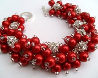 Bridal Jewelry, Wedding, Pearl Bridesmaid Bracelet, Pearl and Rhinestone Bracelet, Cluster Bracelet, Pearl Bracelet, Red Jewelry, Holly Red