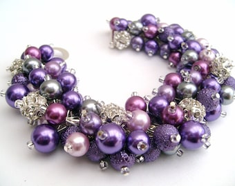 Wedding Jewelry, Purple Bracelet, Pearl Bridesmaid Bracelet, Pearl and Rhinestone Bracelet, Cluster Bracelet, Pearl Bracelet, Purple Jewelry
