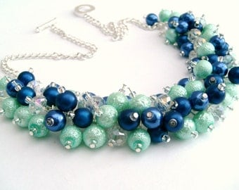 Cobalt Blue and Mint Green Pearl Beaded Necklace, Bridesmaid Jewelry, Cluster Necklace, Bridesmaid Gift, Custom Colours, Royal Blue Necklace