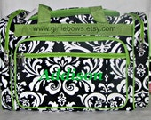 """Personalized 20"""" Duffle Gym Dance Gymnastics Overnight Bag - Black and White Damask with Lime Green Trim - MONOGRAMMED FREE - By Girliebows"""