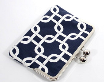 Kindle Case, Kindle Sleeve, Nook Case, Ereader Sleeve, Cover in Navy Links, Gadget Cases and Covers, Ereader Accessories