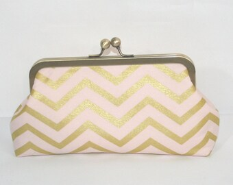 Bridesmaid Blush Gold Chevron Clutch, Pink Gold Bridal Shower Gift, Bridal Party Gifts, Pink Champagne Bridesmaids, Unique Bridesmaids Gift