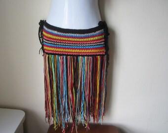 Crochet  hip belt, Fringe hip belt, festival clothing, fringe skirt, gypsy, tribal dancing, belly dancing, overlay skirt, Tribal Fusion